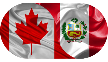 Flags of Canada and Peru